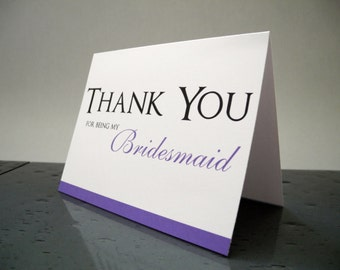 Thank You for Being my Bridesmaid Wedding Thank you cards