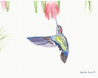 ORIGINAL watercolour painting, hummingbird watercolour, 10 x 7 inch, small tropical bird