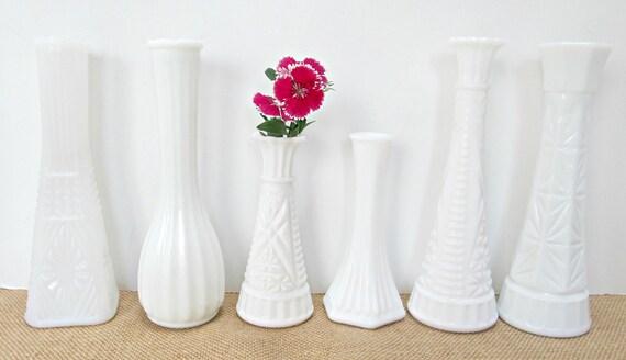 Milk Glass Vases 6 Flower Milkglass Vase Vintage Rustic Wedding