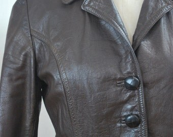 RETRO 50s Dark Chocolate Leather ladies jacket by Stephen Datner of Melbourne - Vintage Size 12 - Excellent Vintage condition