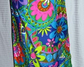Vintage Maxi Skirt Psychedelic Funky Floral Paisley 1960s Cotton M L W25