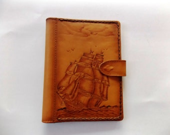 Handmade leather iPAD case for 9,7inches Boat pyrography print