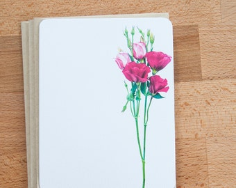 Note Card Set -  Pink Lisianthus Stationary Set