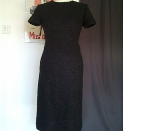 1950 50s vintage bombshell wiggle black dress S pin up dita