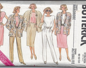 Butterick 3633 Pattern for Misses' Wardrobe, Sizes 8, 10, 12. From 1989. FACTORY FOLDED & UNCUT