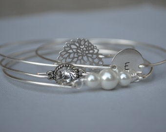 Big sale -Initial Bangle Bracelet Set- Bangle Bracelet Set -Bridesmaid Gift-# 306 -