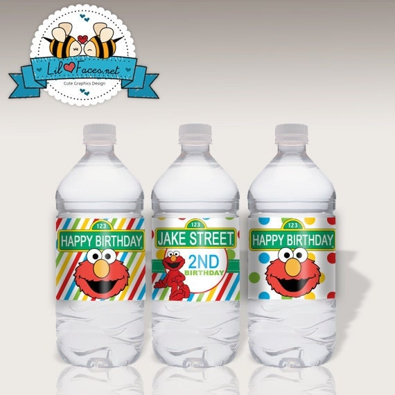 INSTANT DOWNLOAD - 3X Editable Sesame Street Birthday Party Water Bottle Label - Napkin Ring - Personalized Supplies - Elmo Printable PDF