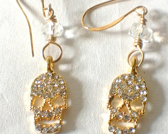 Day of the Dead,Dia de Los Muertos,Halloween,spooky bling,Sparkling Gold/Silver Calavera/Skull Earrings,Frida Khalo,Frida Khalo bling