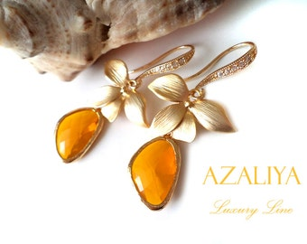Orchid Princess Chandeliers. Honey Quartz Earrings. Azaliya Luxury Line. Bridal Chandeliers, Bridesmaids Earrings. Birthstone Gift.