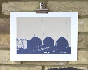 Seaside art, Beach hut print, handmade screen print, limited edition seaside print