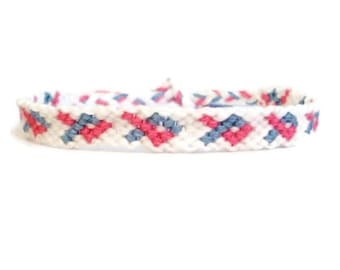 Miscarriage and Infant Loss Awareness Embroidery Friendship Bracelet, Pink, Blue & White Awareness Friendship Bracelet