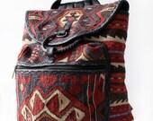 Vintage Kilim Southwest Woven Tapestry Backpack
