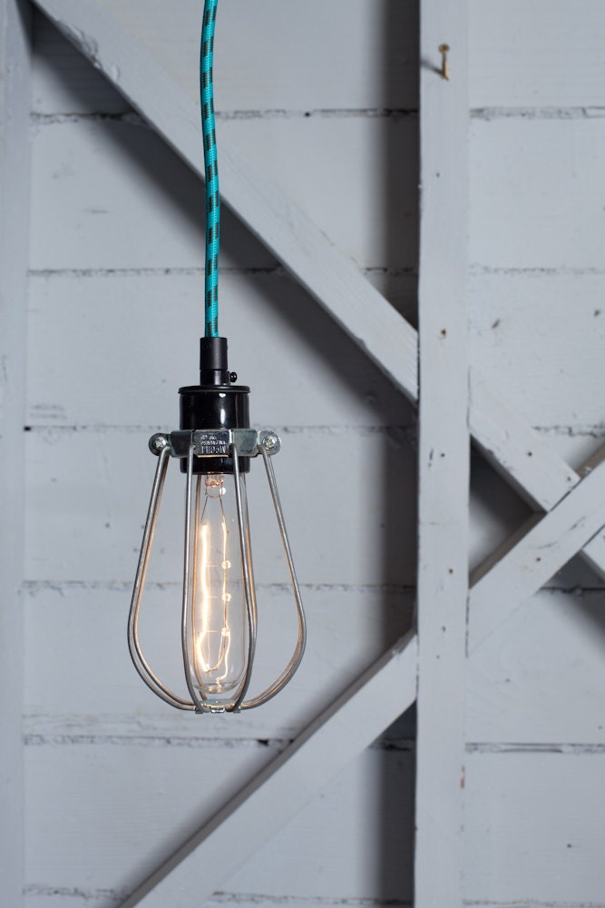 industrial lighting wire cage light color cord pendant