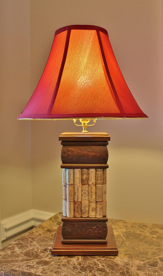 table lamp grapevine and wine cork red oak american