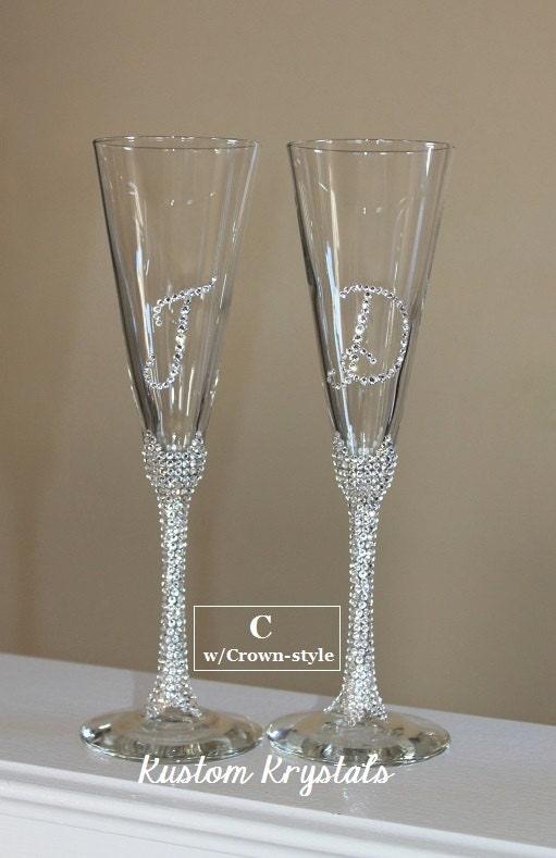 Swarovski Crystal Embellished Toasting Flutes Toasting