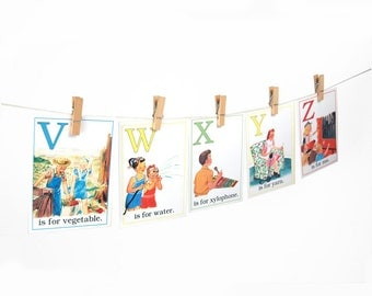 "Digital retro ABC flashcards / alphabet flash cards/ 3"" by 4.2"" / downloadable / printable"