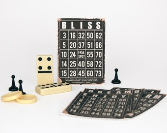 "Digital vintage black bingo cards / 5"" by 7"" / printable / downloadable"