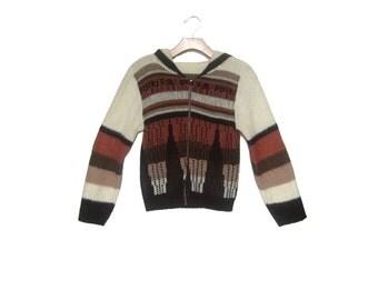 Vintage 80s Geometric Sweater Hoodie Women's Small Medium