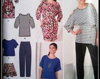Simplicity 2190 Misses' Pants, Skirt And Knit Dress or Tunic And Sash   2 Sizes Available  UNCUT