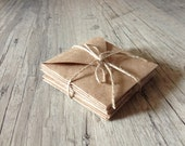 "Envelopes set - 3"" x 3"" kraft envelopes - set of 10 brown handmade envelopes - eco friendly hostess gift - grey rustic - europeanstreetteam"