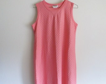 90s Sleeveless Retro Boxy Fit Purl Knit Sun Dress Coral Made in U.S.A.