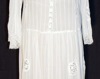 Titanic Era Womens White Lawn Dress Antique Approximate Size 8