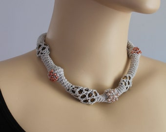 Freeform Crochet Necklace  with  Tiger eye and beads