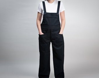 woman overalls dark blue workwear ispired -made to order