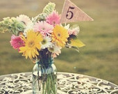 Burlap Table Numbers 1-10, table number pennants, wedding, party
