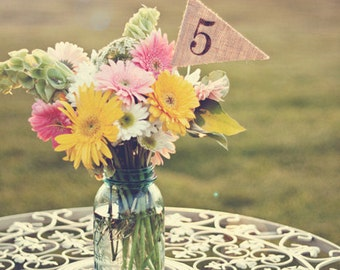 1-15 Burlap Table Numbers, table number pennants, wedding, party