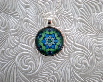Blue and green pendant necklace, Abstract pendant necklace