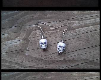 Handmade White Skull Colored Rhinestones Magnetic Hematite Bicone Beaded Stainless Steel Earrings in 14 Different Colors