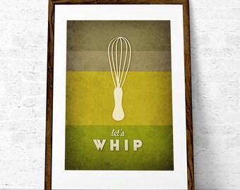 Green Kitchen art Green Kitchen print Green wall art for the kitchen Green kitchen poster Kitchen decor. Let's whip. Latte Design UK