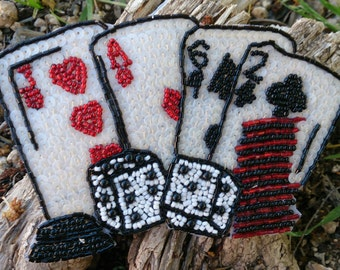 Playing Cards appliqué, Beaded Applique, Las Vegas, SeW On Patch, DICE, Deck Of CaRds