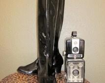 Boots 1960's Shiny Black Patent