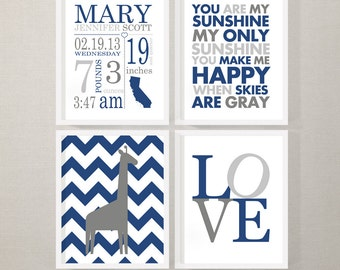 navy gray baby room wall art with baby stats, personalized baby decor, custom Birth Stats Wall Art, baby room decor with birth stats