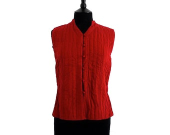SHORT Cotton Quilted WAISTCOAT - All sizes - Bright Red, reverse Bluey Green - Unisex