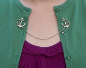 Anchor Cardigan Clip - Silver, Gold, or Bronze