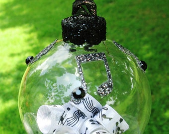 Glass Ornament -  Music Notes - Musical Decor - Gifts Under 20 - Music Teacher Gift - Gift For Music Lover - Music Ribbon - Musical Notes
