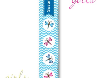 Personalized Growth Chart - Height Chart -Personalized Children's Growth Chart, Dragon Fly I (925)