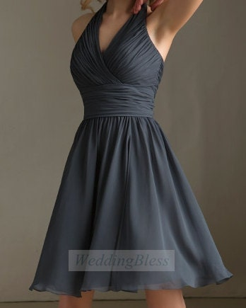 Dark grey bridesmaid dress charcoal v neck bridesmaid for Dark grey wedding dresses