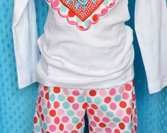 Personalized Valentine's Monogram Scallop Hearts Applique Shirt or Onesie Girl or Boy