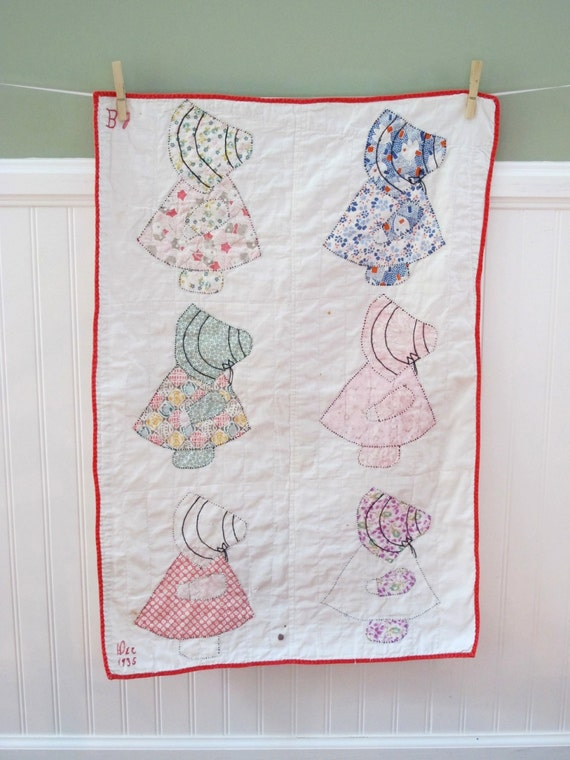 Items Similar To Antique Vintage Quilt Sun Bonnet Sue Baby Quilt Handmade Embroidery
