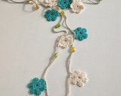 Blue and cream flowers Turkish style beaded crochet necklace