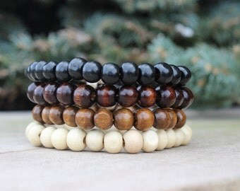 Basic Wood 8mm Bracelet, Choice of Stain / boho menswear nature simple plain eco browns