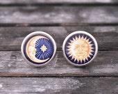 Moon and sun earrings, brass earrings, post earrings, stud earrings, crescent moon earrings, sun and moon earrings, sun earrigs