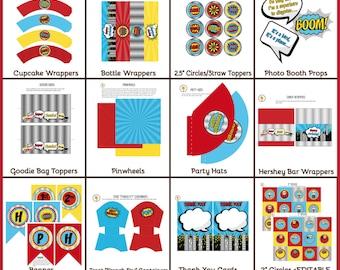 Superheroes Printable & Editable Party Pack