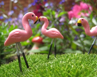 Miniature Pink Flamingo for your Summer fairy garden