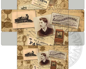 MAN WINTAGE WORLD - Printable Download Digital Collage Sheet - Gifti Box and mini box - Paper Craft - Print and Cut