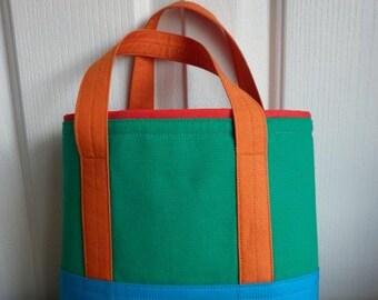 Muiti coloured tote bag. Kids beach bag. Brightly coloured shopping bag. Boys toy bag. Girls purse. Cloth bag. Child's book bag.    .